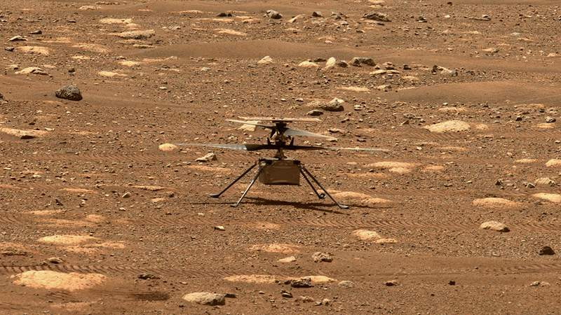 NASA's Ingenuity helicopter unlocked its rotor blades, allowing them to spin freely, on April 7, 2021, the 47th Martian day, or sol, of the mission. Credit: NASA/JPL-Caltech/ASU