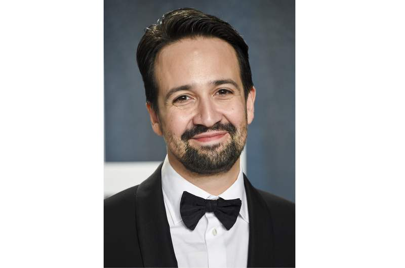 FILE - Lin-Manuel Miranda arrives at the Vanity Fair Oscar Party in Beverly Hills, Calif. on Feb. 9, 2020. A new fellowship co-sponsored by the Andrew W. Mellon Foundation will provide $25,000 for emerging and established Puerto Rican writers. On Wednesday, the Foundation and the Flamboyan Foundations Arts Fund announced the establishment of the Letras Boricuas Fellowship for 30 Puerto Ricans in Puerto Rico and elsewhere who write poetry, fiction creative nonfiction or childrens literature. The Flamboyan Arts Fund is a partnership between Flamboyan Foundation, Lin-Manuel Miranda, his family, and the Broadway musical Hamilton to preserve, amplify, and sustain the arts in Puerto Rico. (Photo by Evan Agostini/Invision/AP, File)