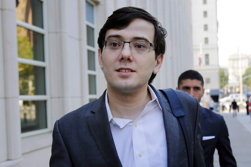 FILE - In this Aug. 3, 2017, file photo, Martin Shkreli arrives at federal court in New York. A federal judge has rejected convicted pharmaceutical executive's Martin Shkreli's second request to be let out of prison early, Tuesday, Jan. 19, 2021, showing skepticism about his claim in court papers that mental health issues have weakened his immune system and made him more susceptible to contracting the coronavirus.(AP Photo/Seth Wenig, File)
