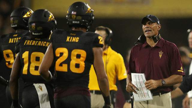 Head coach Herm Edwards of the Arizona State Sun Devils during the second half of the college football game against the Michigan State Spartans at Sun Devil Stadium on September 8, 2018 in Tempe, Arizona. The Sun Devils defeated the Spartans 16-13. (Photo by Christian Petersen/Getty Images)
