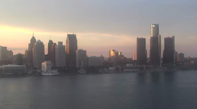 View of Detroit from the Windsor sky camera on July 15, 2020 at 8:30 p.m.