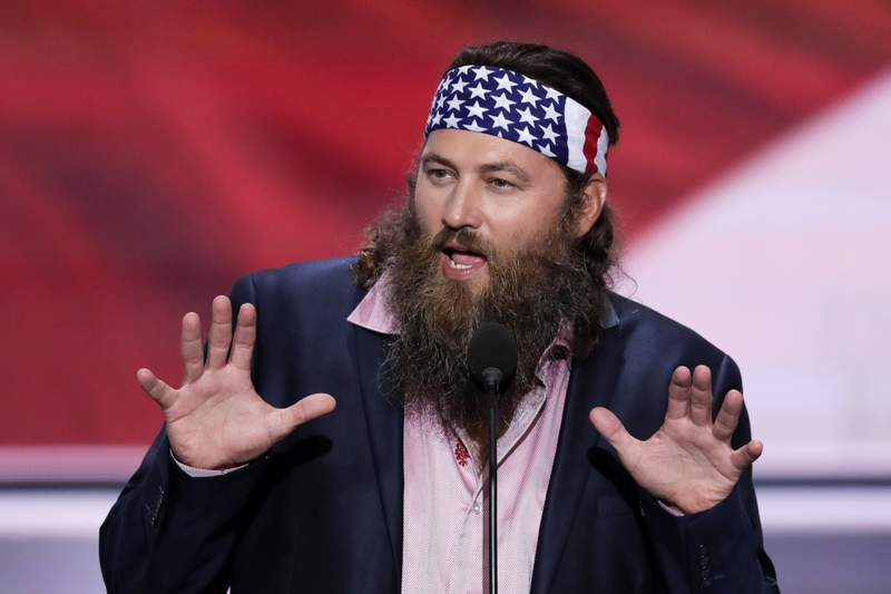 FILE - In this July 18, 2016, file photo, Willie Robertson, CEO of Duck Commander and Buck Commander speaks during the opening day of the Republican National Convention in Cleveland. A man was arrested in connection with a drive-by shooting at the Louisiana home of the Duck Dynasty star.  Daniel King Jr. was booked into a correctional center after Robertson's estate in West Monroe was struck by gunfire on Friday, April 24, 2020, the Ouachita Parish Sheriffs Office said in a Facebook post Saturday, April 25. No one was injured in the shooting, authorities said. (AP Photo/J. Scott Applewhite, File)