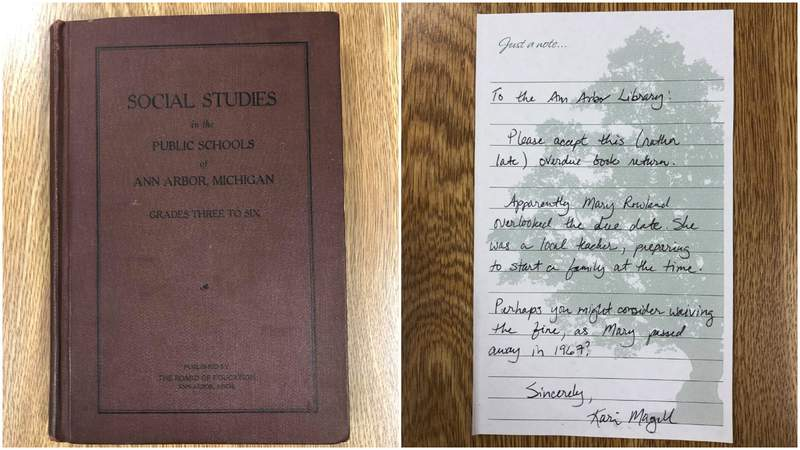 A book was returned to the Ann Arbor District Library with a note explaining why it was 70 years late.