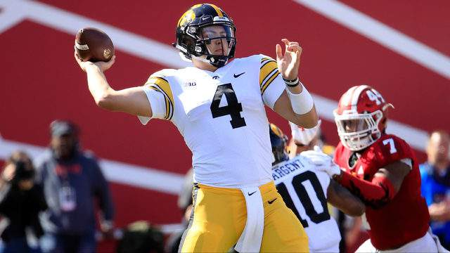 Nate Stanley throws a pass against Indiana at Memorial Stadium on Oct. 13, 2018, in Bloomington, Indiana. (Andy Lyons/Getty Images)