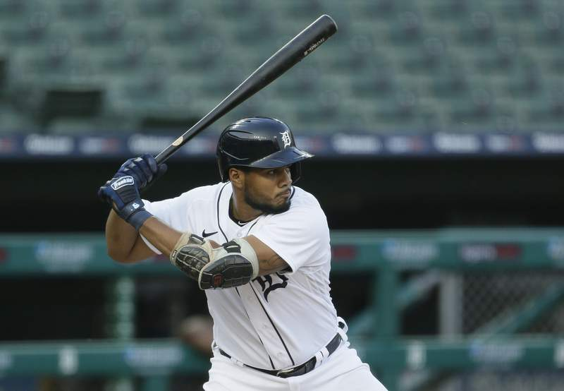Jeimer Candelario #46 of the Detroit Tigers bats against the Chicago Cubs at Comerica Park on August 26, 2020 in Detroit, Michigan.