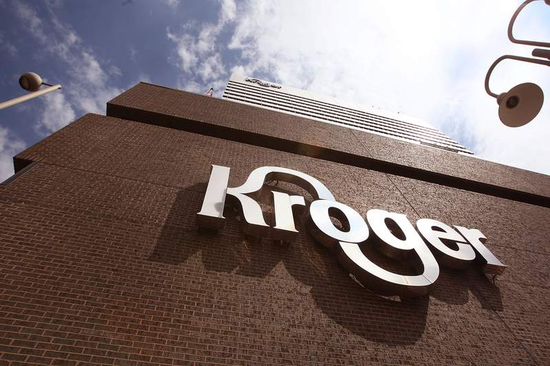 CINCINNATI - JULY 15:  The Kroger Co. corporate headquarters is seen July 15, 2008 in downtown Cincinnati, Ohio. Kroger is one of the nation's largest grocery retailers, with fiscal 2007 sales of over $70 billion.  (Photo by Scott Olson/Getty Images)