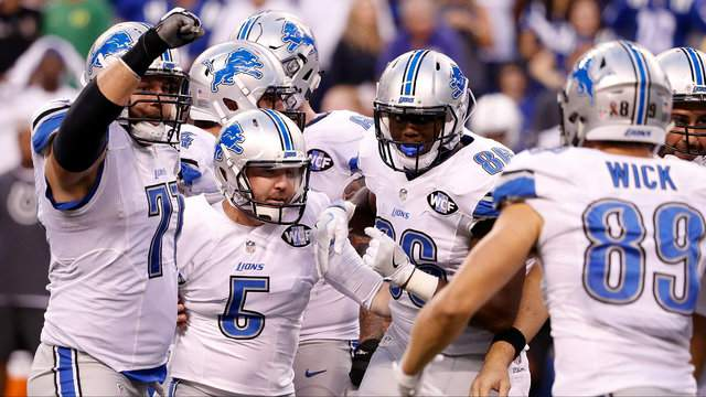 Matt Prater #5 of the Detroit Lions celebrates with teammates after kicking the game winning field goal in the fourth quarter of the game against the Indianapolis Colts on Sept. 11, 2016 in Indianapolis, Indiana. (Photo by Joe Robbins/Getty Images)