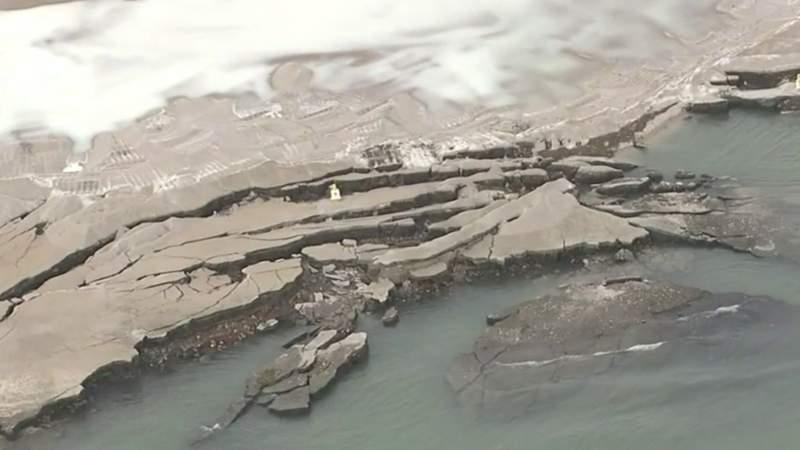 Detroit seawall collapse.