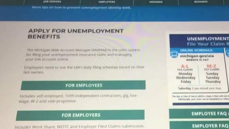 Michigan unemployment application website