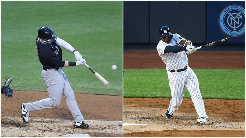Clint Frazier (left) and Miguel Andujar (right) of the New York Yankees.
