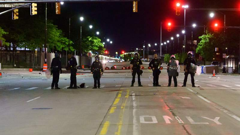 Detroit police form line on day 2 of protests against police brutality on May 30, 2020.