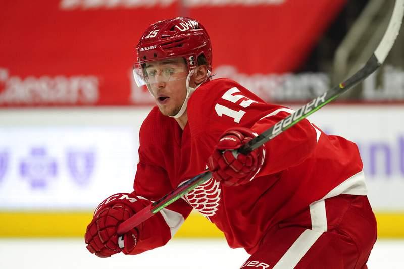 Detroit Red Wings' Jakub Vrana plays against the Dallas Stars in the third period of an NHL hockey game Saturday, April 24, 2021, in Detroit. (AP Photo/Paul Sancya)