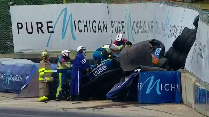 Races were halted for more than an hour Saturday after a crash sent Felix Rosenqvist to a hospital.