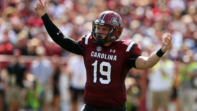 Jake Bentley #19 of the South Carolina Gamecocks reacts after a play against the Georgia Bulldogs during their game at Williams-Brice Stadium on September 8, 2018 in Columbia, South Carolina. (Photo by Tyler Lecka/Getty Images)