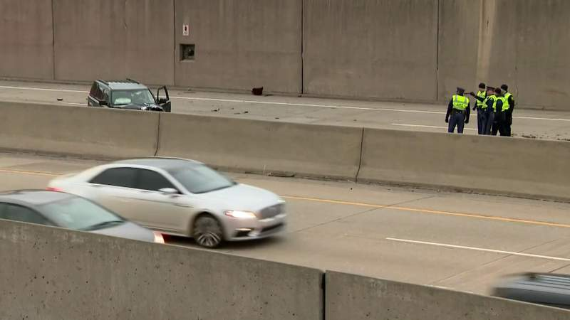 Two people were killed in a crash Feb. 11, 2020 on eastbound I-696 near Woodward Avenue in Royal Oak, Mich.