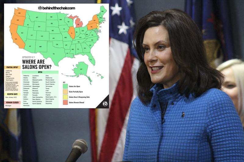 Michigan Gov. Gretchen Whitmer is under fire by salon owners for keeping their businesses closed.