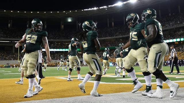 Jamycal Hasty #6 of the Baylor Bears celebrates a touchdown against the Abilene Christian Wildcats at McLane Stadium on September 1, 2018 in Waco, Texas. (Photo by Ronald Martinez/Getty Images)