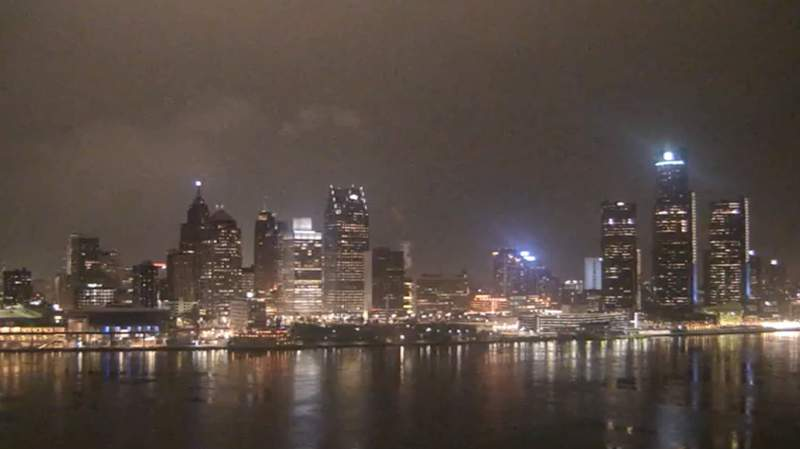 View of Detroit from the Windsor sky camera on Jan. 30, 2020 at 7:30 p.m.