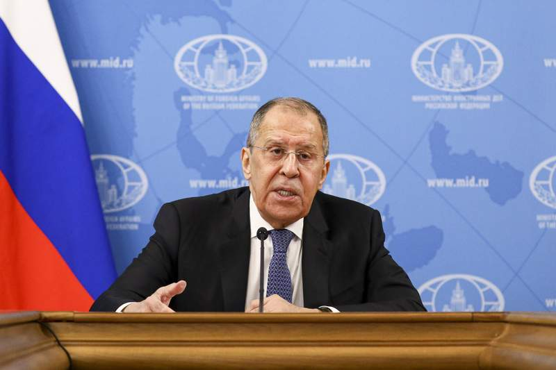 "In this handout photo released by Russian Foreign Ministry Press Service, Russian Foreign Minister Sergey Lavrov speaks during his annual news conference in Moscow, Russia, Monday, Jan. 18, 2021. Lavrov said Monday the stream of reactions to Navalny's arrest by Western officials reflects an attempt ""to divert attention from the crisis of the Western model of development."" ""Navalny's case has received a foreign policy dimension artificially and without any foundation,"" Lavrov said, arguing that his detention was a prerogative of Russian law enforcement agencies that explained their action. (Russian Foreign Ministry Press Service via AP)"