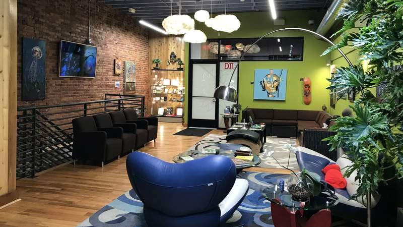 The lounge at Om of Medicine (Photo: Meredith Bruckner)