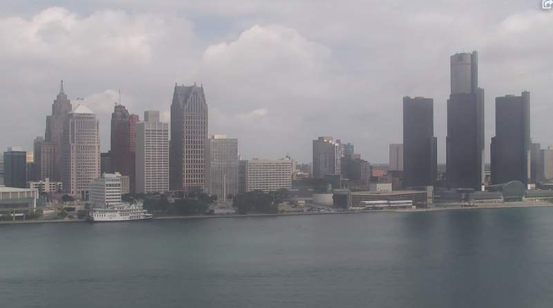 View of Detroit from the Windsor sky camera on July 27, 2020 at 8:32 p.m.