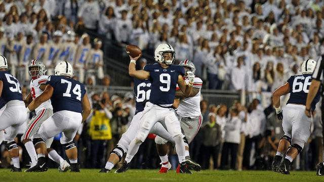 Trace McSorley throws a pass against Ohio State on Sept. 29, 2018, at Beaver Stadium in State College, Pennsylvania. (Justin K. Aller/Getty Images)