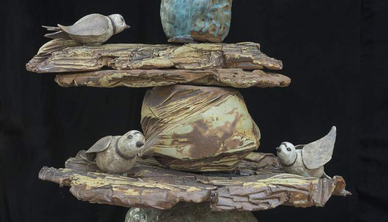 """A section of a sculpture on display at Matthaei Botanical Gardens as part of """"Garden of Earthy Delights."""""""