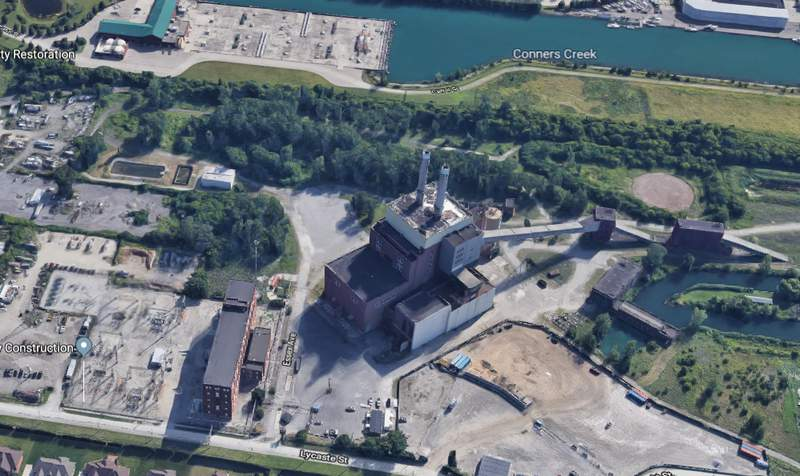Aerial map view of Conners Creek Power Plant in Detroit. (Google Maps)