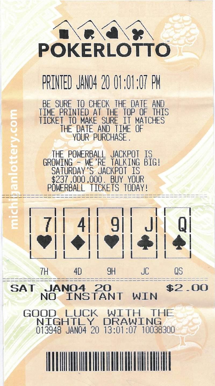 Poker Lotto ticket. (Michigan Lottery)