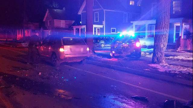 A driver crashed into this Ann Arbor police vehicle on March 8, 2019. (WDIV)