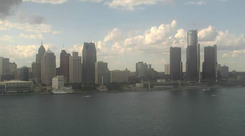 View of Detroit from the Windsor sky camera on July 11, 2020 at 6:29 p.m.