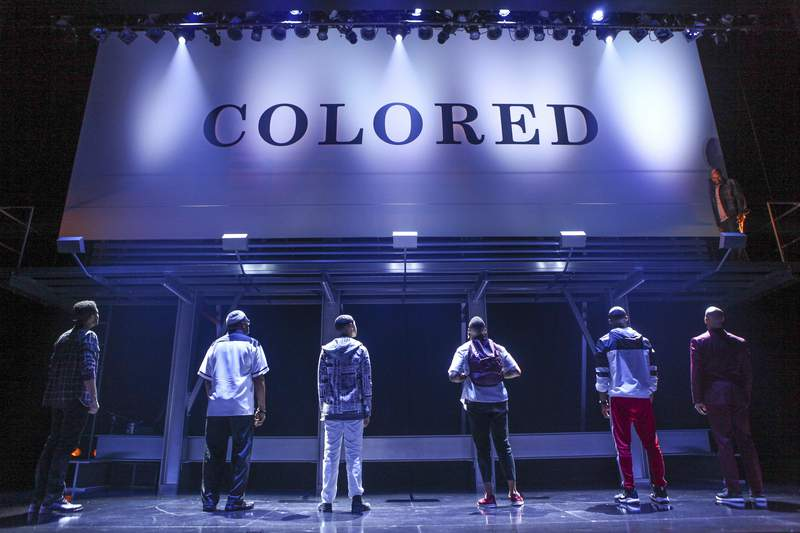 This image released by O+M/DKC shows a scene from the production of  Keenan Scott II's play Thoughts of a Colored Man, a work about the outer and inner lives of Black men. The play will be produced on Broadway when the new season starts. (Michael Davis/O+M/DKC via AP)
