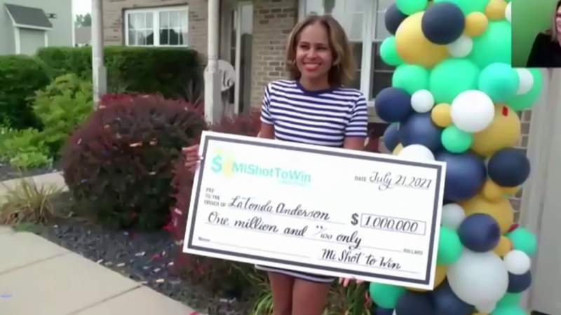 LaTonda Anderson, the winner of the $1 million drawing through Michigan's COVID vaccine sweepstakes.