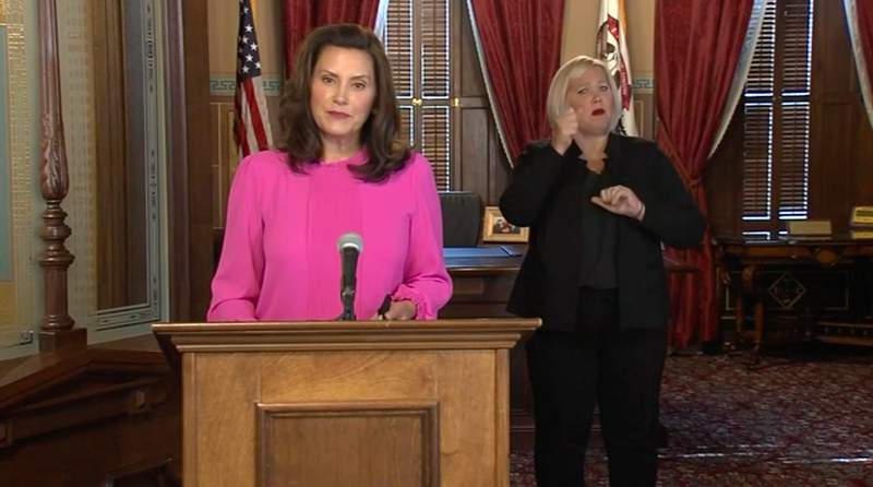 Michigan Gov. Gretchen Whitmer talked about the state's coronavirus (COVID-19) situation during an Oct. 6, 2020, news conference about voting safety.