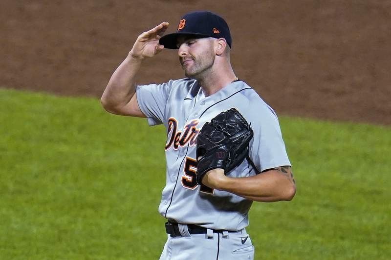 Detroit Tigers relief pitcher Alex Lange collects himself on the mound after giving up a two-run single to Pittsburgh Pirates' Ben Gamel during the sixth inning of a baseball game in Pittsburgh, Tuesday, Sept. 7, 2021.