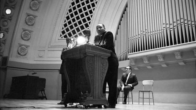 Martin Luther King Jr. spoke at the University of Michigan's Hill Auditorium on November 5, 1962. (Photo courtesy: U-M Bentley Historical Library)