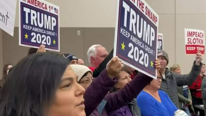 GF Default - Trump and Slotkin supporters clash over impeachment at contentious town hall