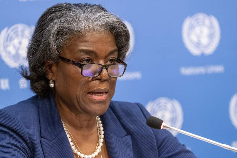 FILE - In this March 1, 2021 file photo, U.S. Ambassador to the United Nations, Linda Thomas-Greenfield speaks to reporters during a news conference at United Nations headquarters.  The United States says it is giving $15 million to vulnerable Palestinian communities in the West Bank and Gaza Strip to help respond to the COVID-19 pandemic. Thomas-Greenfield told the U.N. Security Council on Thursday, March 25,  that the money will support the Catholic Relief Services' COVID-19 response in health care facilities. (AP Photo/Mary Altaffer, File)