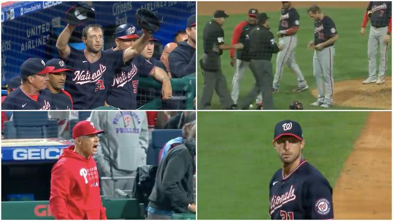Images from Max Scherzer's first start under MLB's new substance check rules.