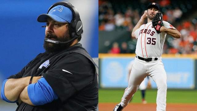 Detroit Lions head coach Matt Patricia (left) and Houston Astros pitcher Justin Verlander (right).
