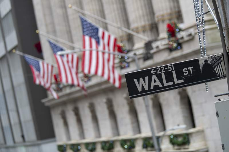 FILE - In this Jan. 3, 2020 file photo, the Wall St. street sign is framed by American flags flying outside the New York Stock Exchange in New York. Stocks are slipping in early trading on Wall Street Thursday, Aug. 20,  following discouraging data about the economy, as the number of layoffs sweeping the country picks up again. The S&P 500 was down 0.2% after the first 20 minutes of trading, following up on sharper losses for stock markets overseas. (AP Photo/Mary Altaffer, File)