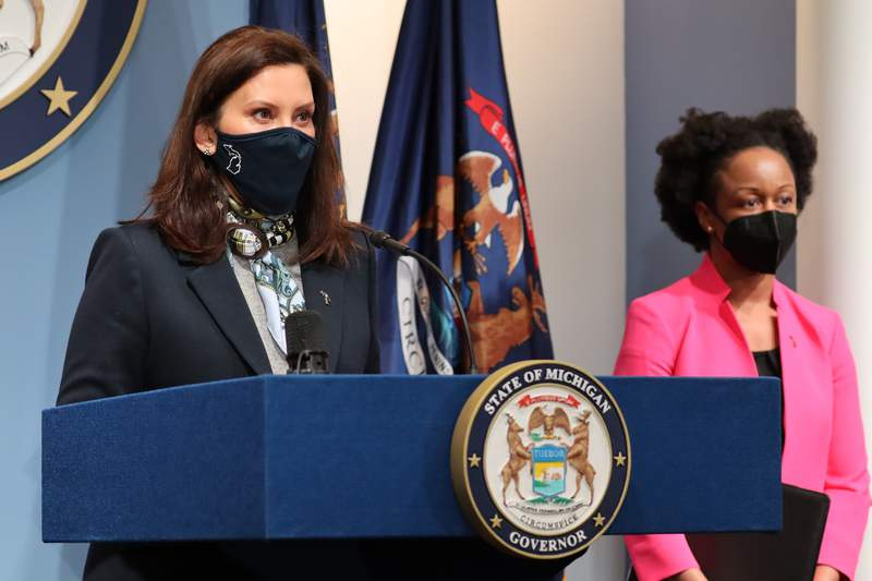 Michigan Gov. Gretchen Whitmer at an April 14, 2021, COVID-19 briefing.