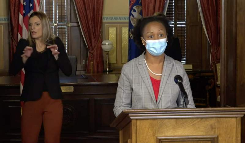 Dr. Joneigh Khaldun, of the Michigan Department of Health and Human Services, at a COVID-19 press conference on Nov. 12, 2020.