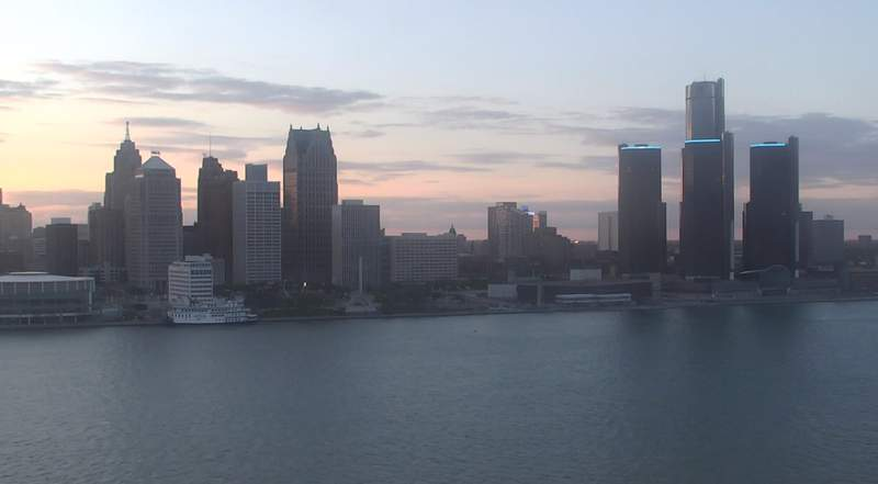 View of Detroit from the Windsor sky camera on May 11, 2020 at 8:29 p.m.