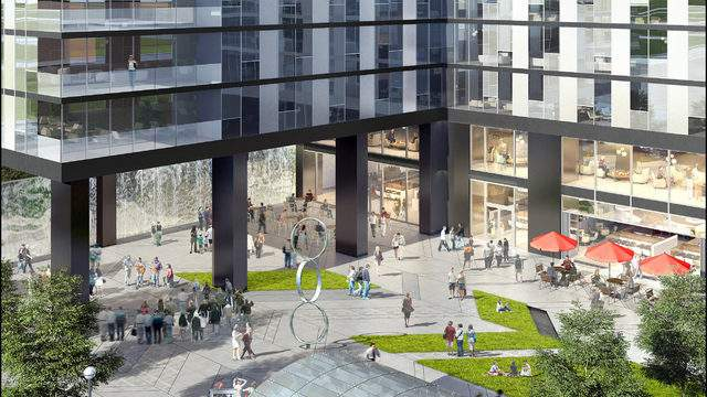 Rendering of the Collective on Fifth plaza in downtown Ann Arbor (Courtesy: Core Spaces)