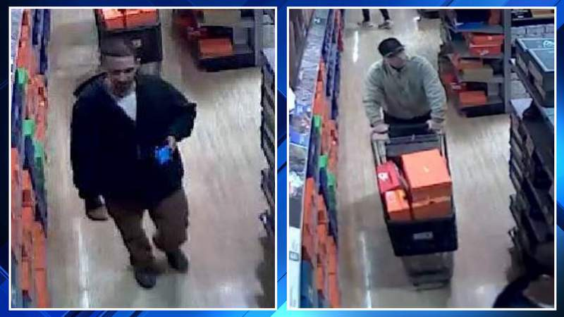 Two men suspected of stealing basketball shoes from Dick's Sporting Goods in Bloomfield Township on Jan. 11, 2020.