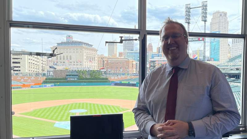 Dan Hasty at Comerica Park on April 18, 2021, to call his first Detroit Tigers game on the radio broadcast.