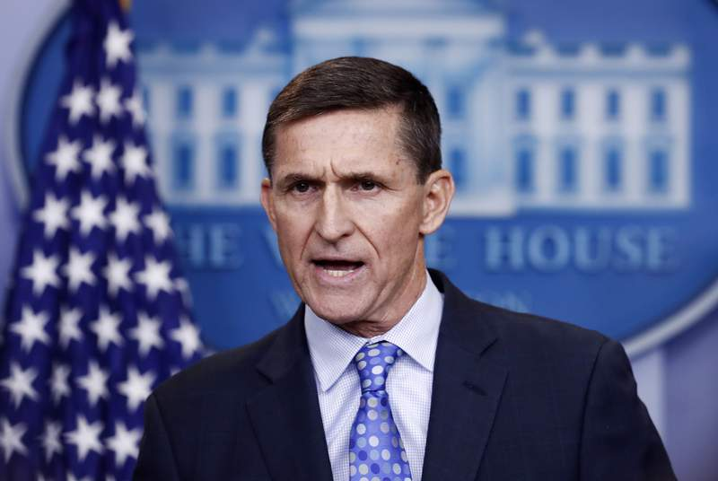 FILE - In this Feb. 1, 2017 file photo, then-National Security Adviser Michael Flynn speaks during the daily news briefing at the White House, in Washington. A former federal judge appointed to review the Justice Department's motion to dismiss criminal charges against ex-national security Michael Flynn has found that the government's request should be denied because there is clear evidence of a gross abuse of prosecutorial power. Former U.S. District Judge John Gleeson says in a filing Wednesday that the government has engaged in highly irregular conduct to benefit a political ally of the President. (AP Photo/Carolyn Kaster, File)