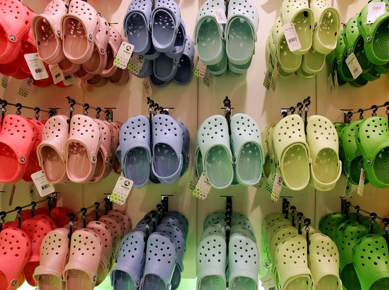 Rows of hanging Crocs in the first UK Crocs store on October 18, 2007 in London England. (Photo by Cate Gillon/Getty Images)