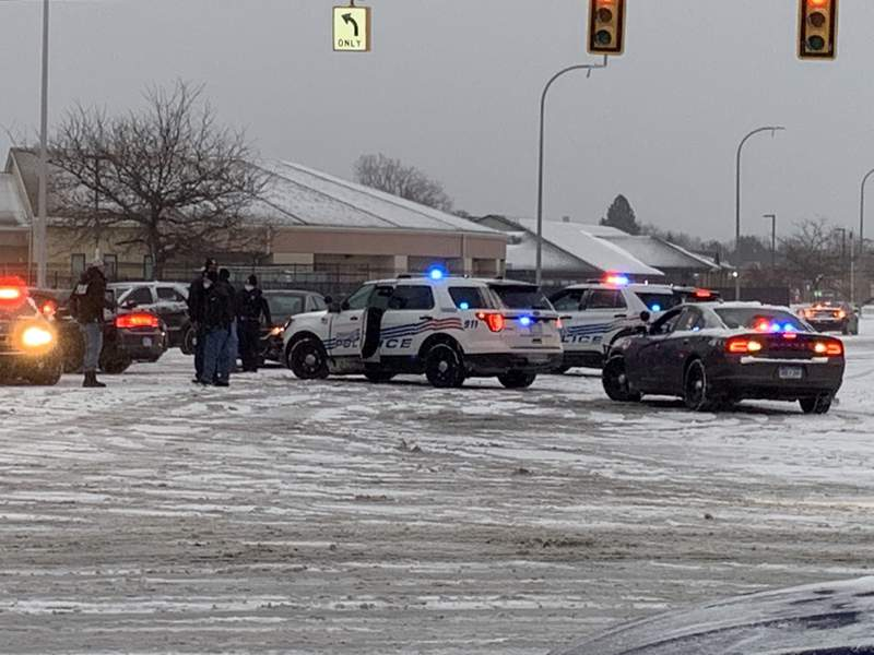 Detroit police were in a standoff with grocery store thieves Dec. 1, 2020 near Conner Street and Mack Avenue.